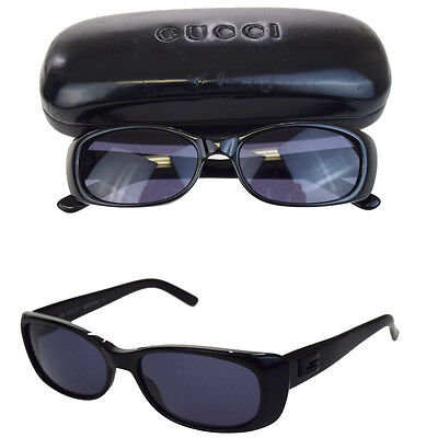 Authentic GUCCI GG Logos Sunglasses Eye Wear Plastic Black Made In Italy 00F433