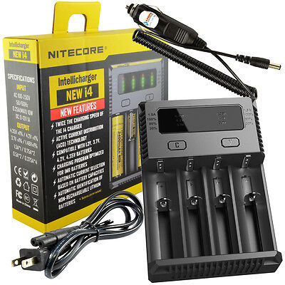 NITECORE New i4 Intellicharger 2017 Li-ion Smart Charger w/ 12V DC Car Charger