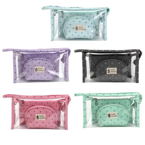 3Pcs/Set Makeup Bag Portable Toiletry Case Zipper Pouch Orga