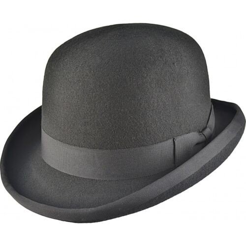 100% Wool Hand Made Round Hard Top Bowler Hat With Satin Lining