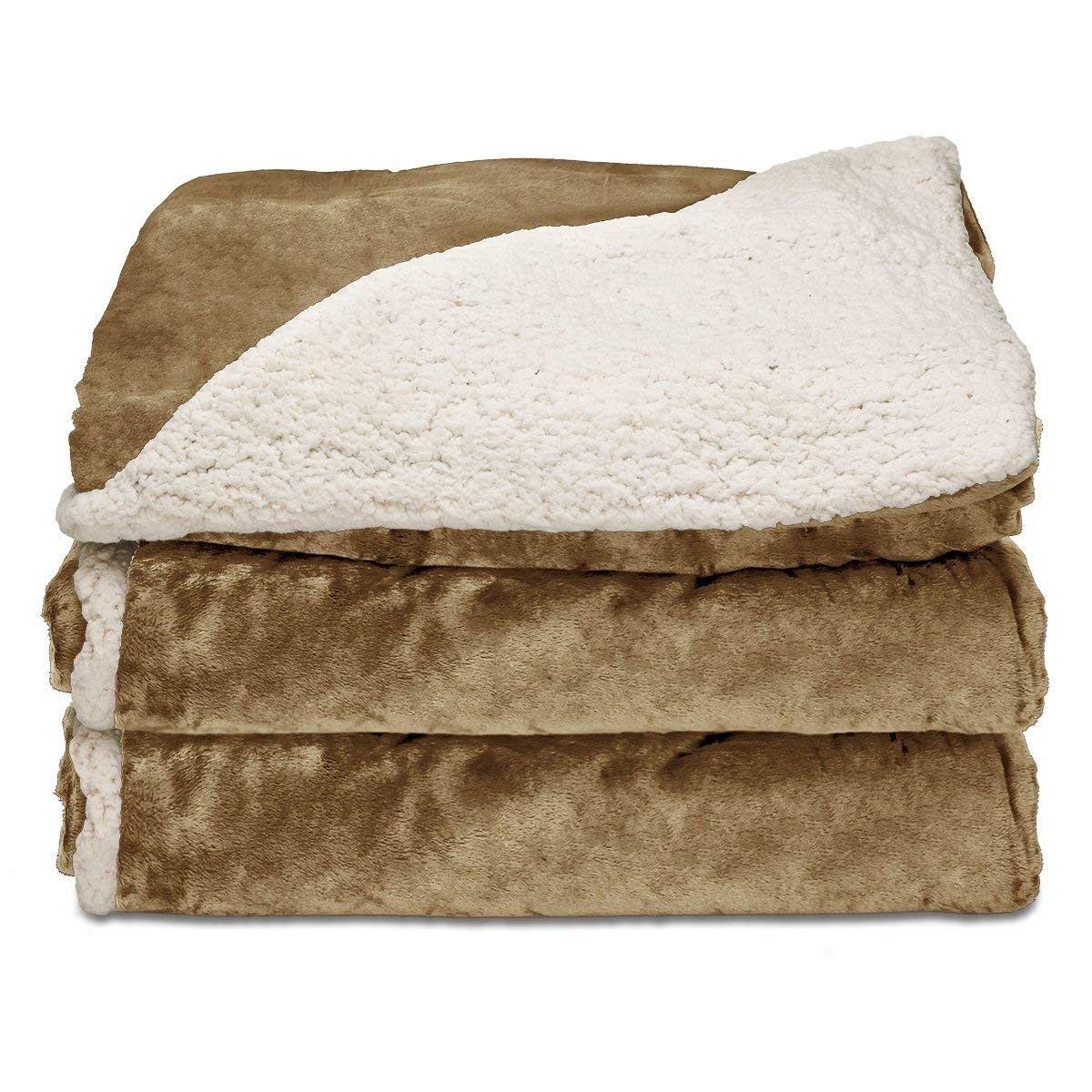 Sunbeam Reversible Sherpa/Royalmink Heated Throw Blanket Wit