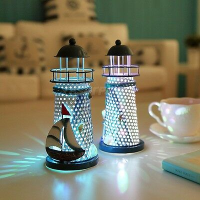 LED Light Metal Lighthouse Maritime Ornament Beach Home Desk Nautical Decor