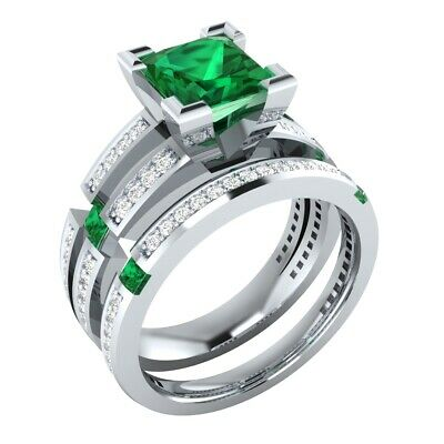 2.50 Ct Green Emerald and Sapphire Bridal Wedding Ring Set 14k White Gold Finish](Green And Gold Wedding)