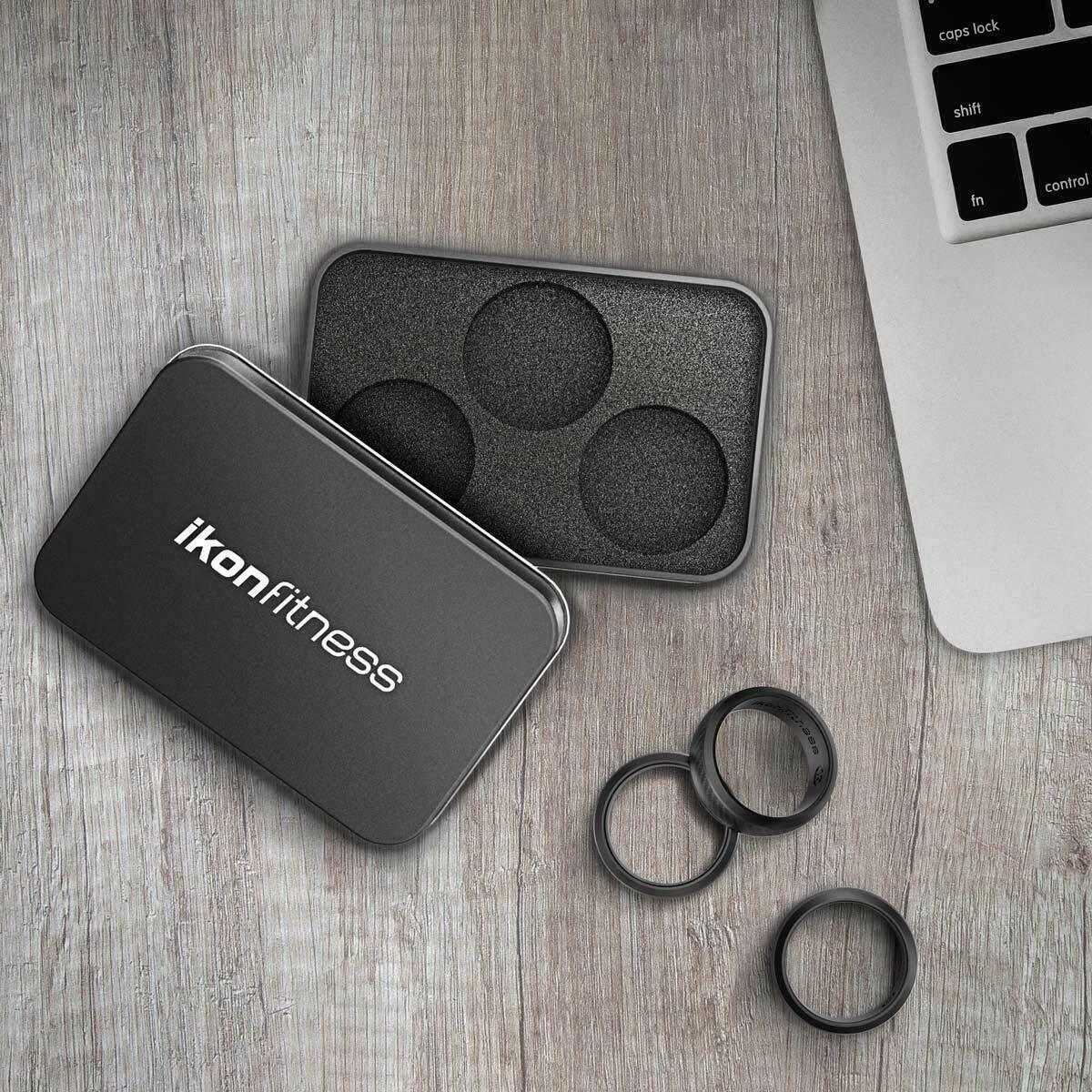 Ikonfittness 3 Pack Black Silicone Rubber Wedding Band Ring