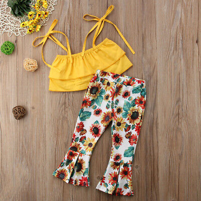 US Newborn Toddler Kid Baby Girl T-shirt Top+Floral Flare Pant Outfit