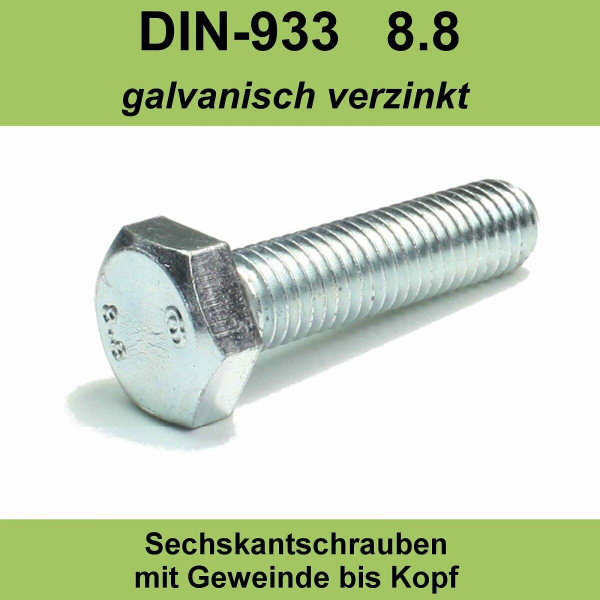 M8 DIN 933 8.8 Sechskant Schrauben verzinkte Maschinen Gewindeschrauben Voll M8x