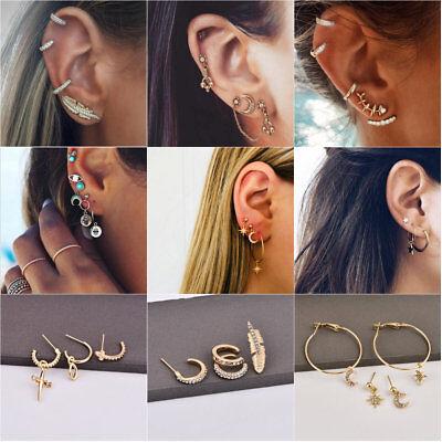 4Pcs/Set Women Bohemian Large Circle Earrings Ear Clip Gold Star Stud Jewelry](Gold Star Jewelry)