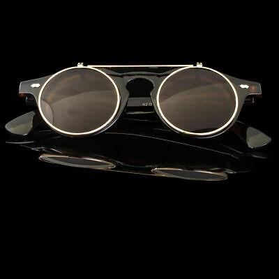 Steampunk Vintage Retro Style Cool Flip Up Lens Round Sunglasses Tortoise Gold (Cool Sunglass)