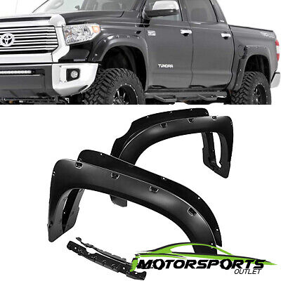 FOR 2014-2018 Toyota Tundra Pocket Style Shinny Black Rivet Fender Flares 15 16