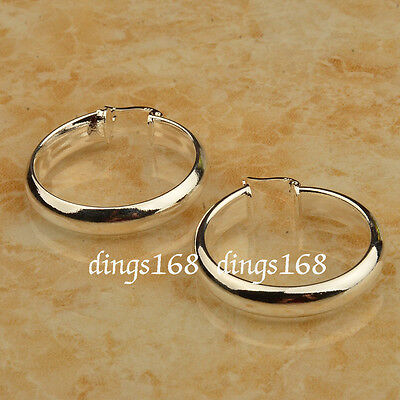 (925 Sterling Silver Medium-Size 5mm wide 30mm Medium Size Flat Hoop Earrings HG2)