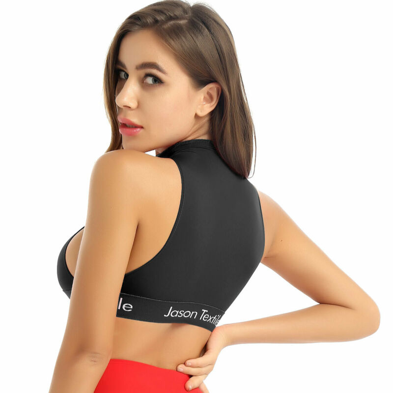 Women Turtleneck T-shirt Crop Top Mesh Sheer Sleeveless Bras Blouse Yoga Sports