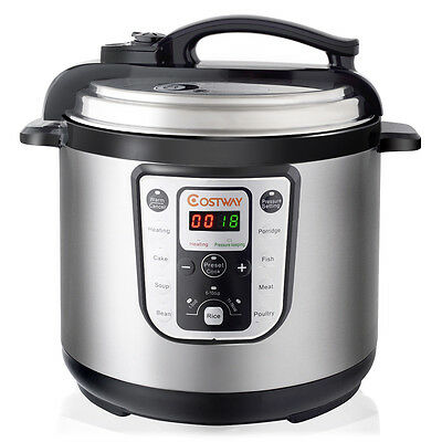 1250W 8 Quart Stirring Pressure Cooker Programmable Multi-Use Stainless Steel