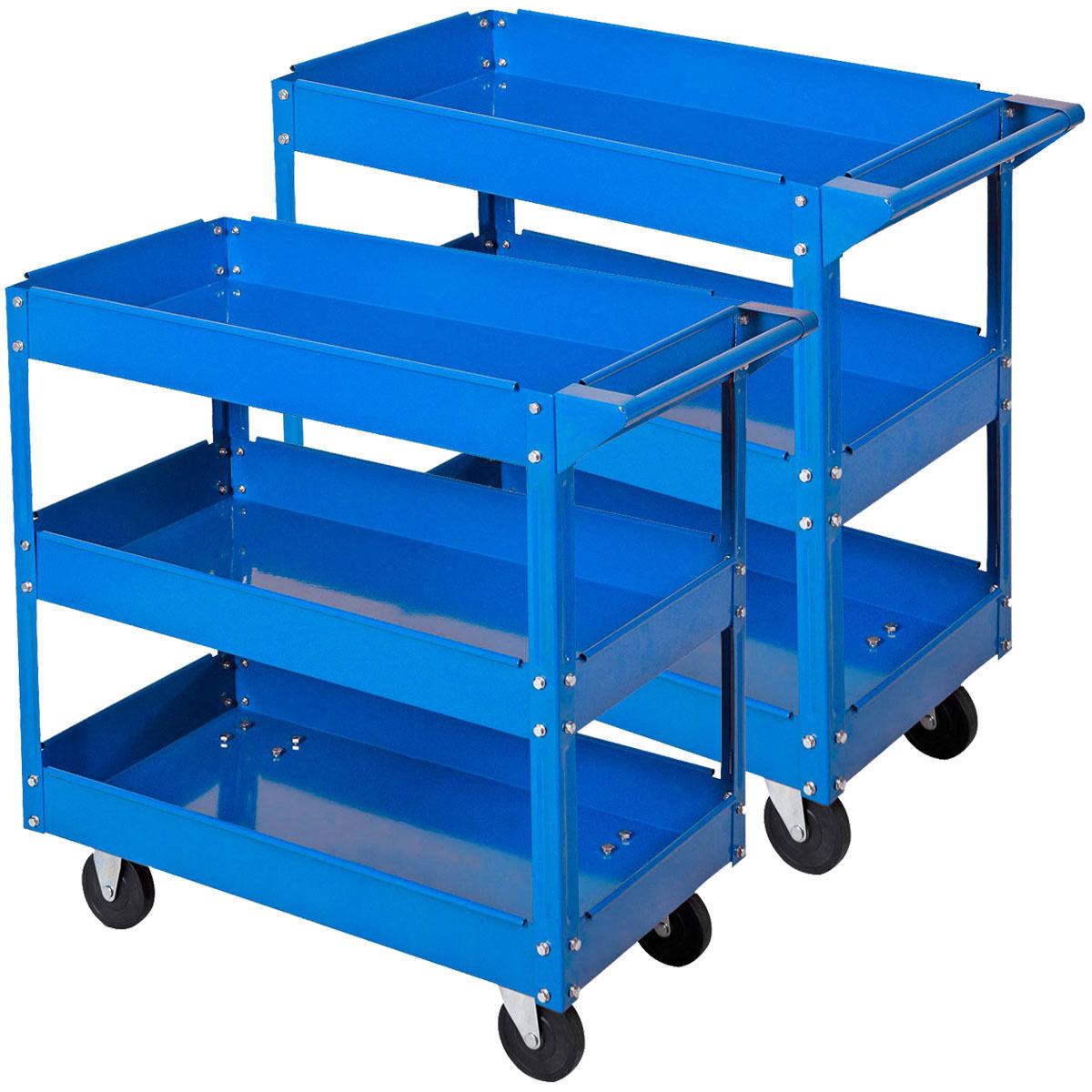 2xheavy duty workshop garage diy tool storage trolley wheel cart tray 3 tier ebay. Black Bedroom Furniture Sets. Home Design Ideas