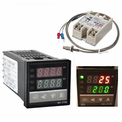 Rex-c100 Digital Pid Temperature Control 40a Ssr K Thermocouple 0 To 400 Usa