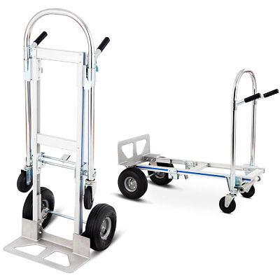 2in1 Aluminum Hand Truck Convertible Folding Dolly Platform Cart 770LBS Capacity