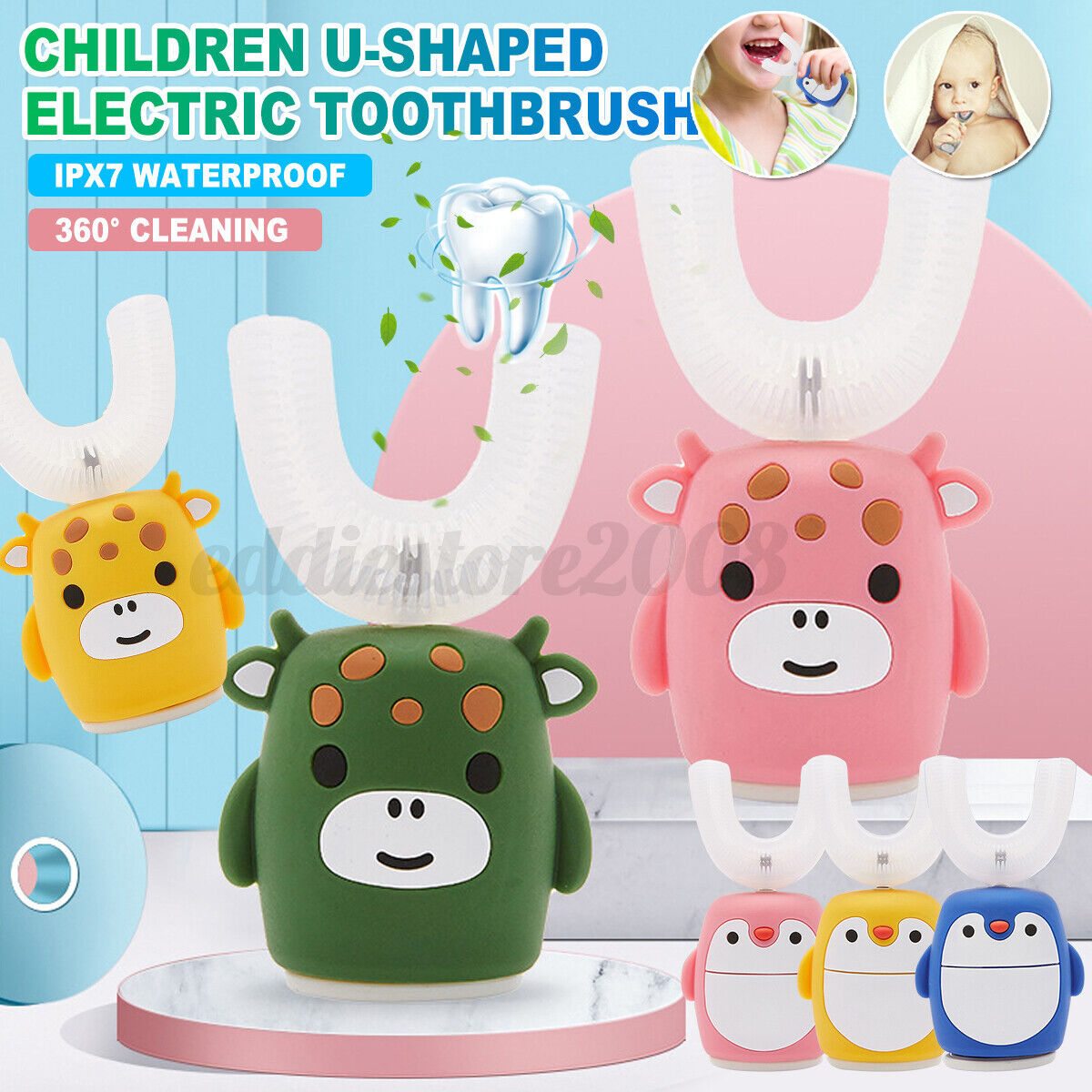 360° Silicone U-shaped Toothbrush Intelligent Charging Electric Toothbrush Kids