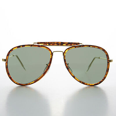 Large Tortoise and Gold Vintage Aviator with Glass Lens and Brow Bar - ECHO