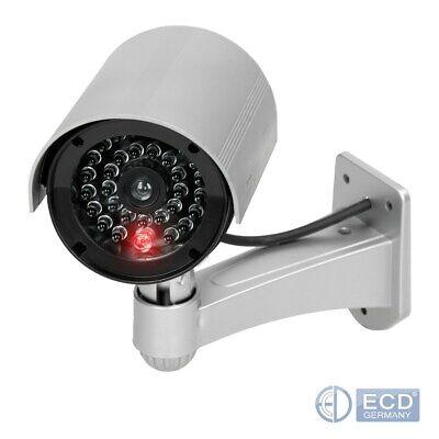 Kamera Dummy Überwachungskamera Außen Innen LED Attrappe Sicherheitkamera Silber
