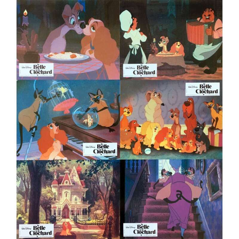 LADY AND THE TRAMP Original Lobby Cards x6 - 9x12 in. - 1955 - Walt Disney, Pegg