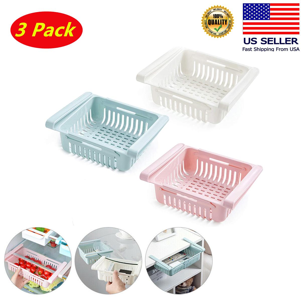 3 Pack Refrigerator Freezer Rack Fridge Drawer Storage Holde