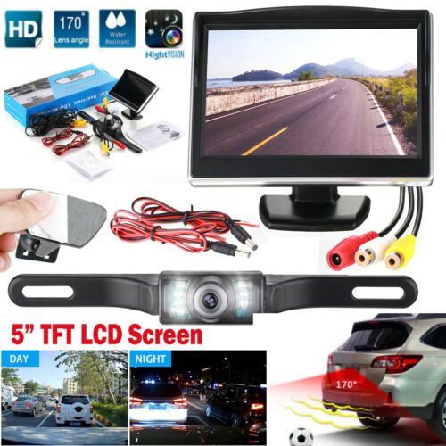 "Wired Car Backup Camera Rear View System With Night Vision& 5"" LCD Monitor US"