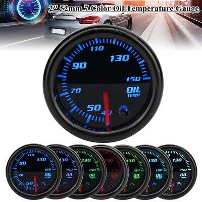 2'' 52mm Pointer Oil Temp Gauge Led Car Temperature Meter 1/8 Npt Sensor 7 Color