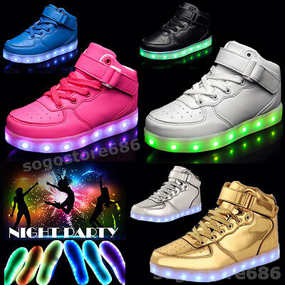 Boys Girls LED Light up Shoes Luminous Sneakers Kids High Top Dance Party Shoes