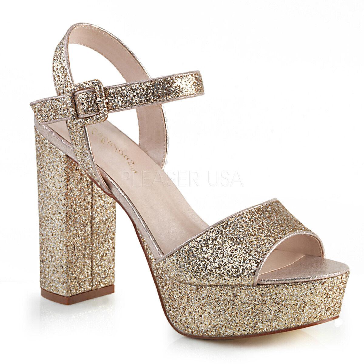 Gold Glitter Chunky Platform Heels 70s Disco Dancer Womans Shoes 6 7 8 9 10 11