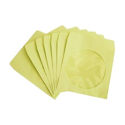 100 Pack Yellow Paper Dvd Cd Sleeve Envelope With Clear Window Cut Out And Flap