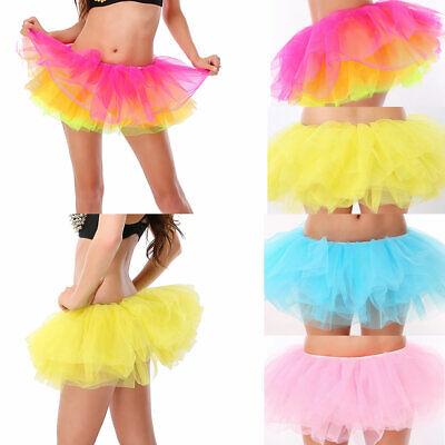 Women Girls Mini Tulle Skirt Elastic Fluffy Ballet Dance Tutu A-Line Petticoat - Mini Petticoat
