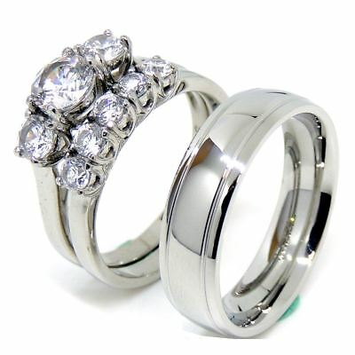 Couple Ring Set Womens 3-Stone CZ Wedding Ring Set and Mens Dome Grooved Edge Ba