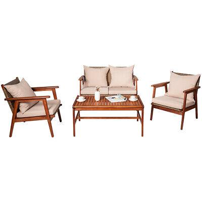 Garden Furniture - 4PCS Patio Rattan Furniture Set Acacia Wood Frame Cushioned Sofa Chair Garden