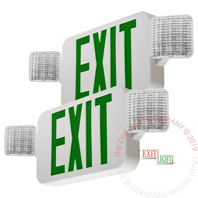 2pack Green All Led Exit Sign Emergency Light - Standard Combo Ul924 Combog2