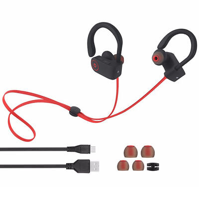 Sweatproof Headphones Wireless Bluetooth Sport Earphones Stereo Headset New Red