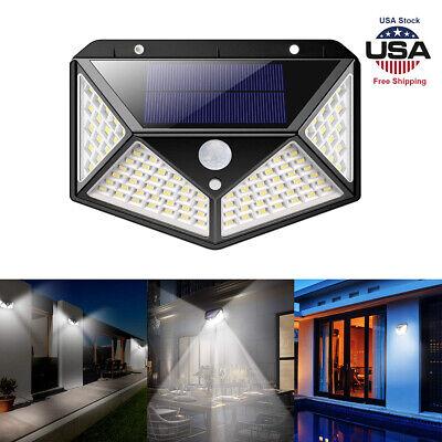 100-led Solar Power Pir Motion Sensor Wall Light Outdoor Garden Lamp Courtyard