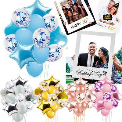 18/30/40/50th Wedding Day Selfie Photo Props Frame Balloons (Happy Birthday Photo Frames)