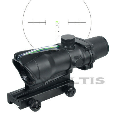 Green Fiber Optic ACOG Scope CHEVRON Reticle 4x32 ACOG for .223 Rifle