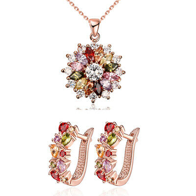 "Women's 14K Rose Gold Genuine Austrian Crystal Necklace And Earrings 18"" ITALY"