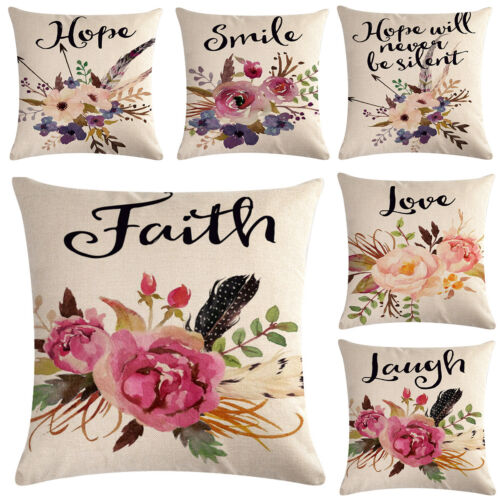 Watercolor Flowers Throw Pillow Covers Floral Leaves Cushion