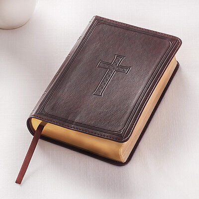 KJV HOLY BIBLE King James Version Compact Red Letter Edition Brown Faux Leather