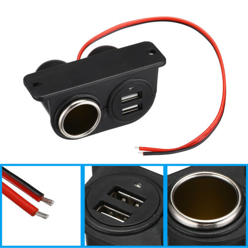 Car DC Cigarette Lighter Auxiliary Dual USB/Power Outlet 12V Socket Plug Adapter