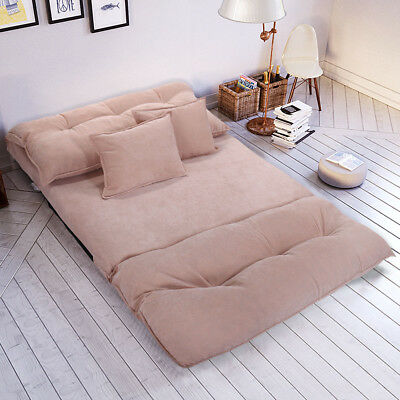 Soft Corduroy Floor Sofa Bed Folding Convertiable Lounge Couch with Pillows Pink