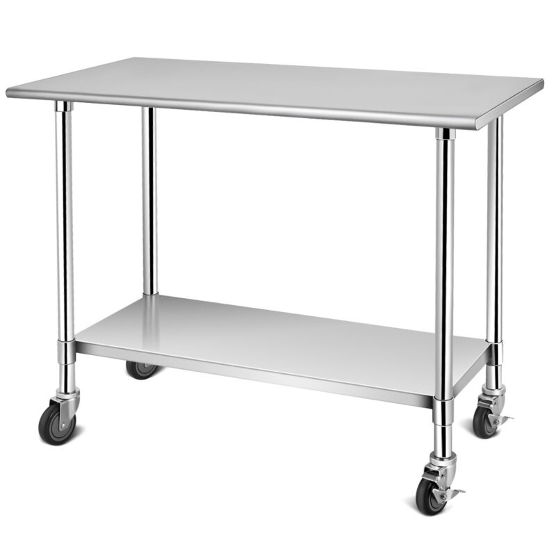 "48"" x 24"" NSF Stainless Steel Commercial Kitchen Prep & Work Table w/ 4 Casters"