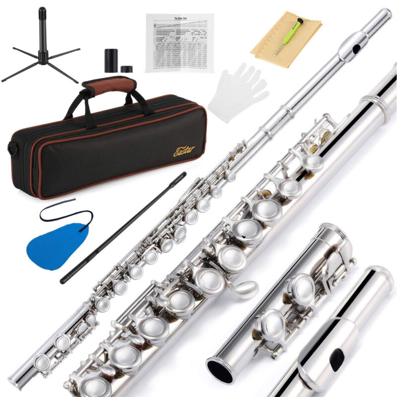 16 Key Closed Hole C Flutes Nickel Flute Set With Case Stand Glove Cleaning Set