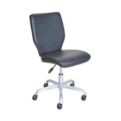 Rolling Office Chair Adjustable No Arms Comfortable Wheels Computer Desk Black