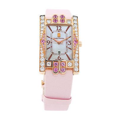 Harry Winston Avenue Classic Watch 310UQR 18kt Rose Gold & Diamonds W/ Box