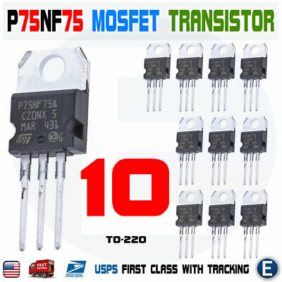 10pcs Stp75nf75 P75nf75 Power Mosfet Transistor To-220 80a 75v N-channel Usa