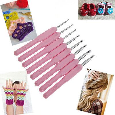 8 Size Soft Plastic Handle Aluminum Crochet Hook Weave Knit Needle Set 2.5-6mm