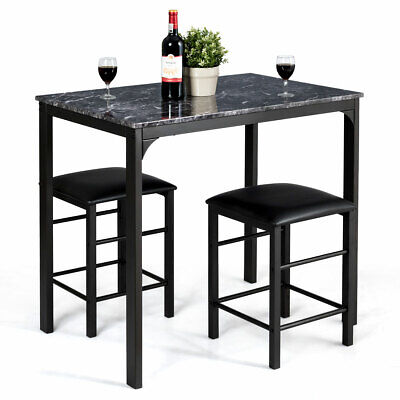 - 3 Piece Counter Height Dining Set Faux Marble Table 2 Chairs Kitchen Bar Black