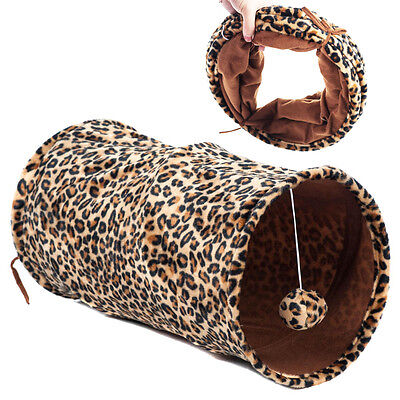 """Favorite 20"""" Long Lightweight Collapsible Cat Fun Tunnel Toy, Leopard"""
